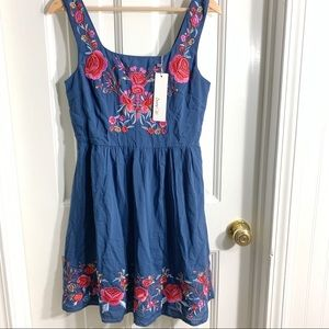 Modcloth Dresses - ModCloth Navy Enlightened Look Embroidered Dress